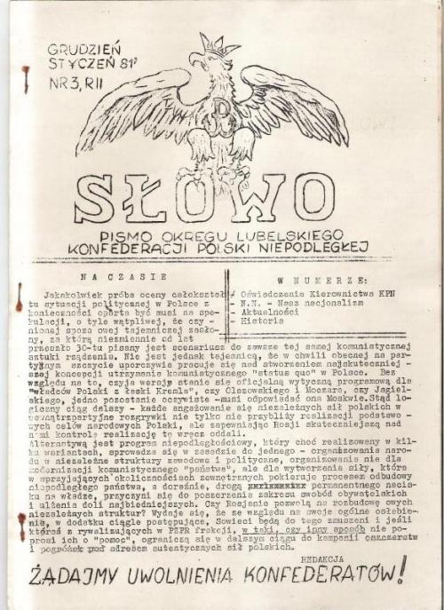 Pismo z lat 1980 - 81, redagowane przez Piotra Opozdę, Andrzeja Ruksa i Marka Miszczaka