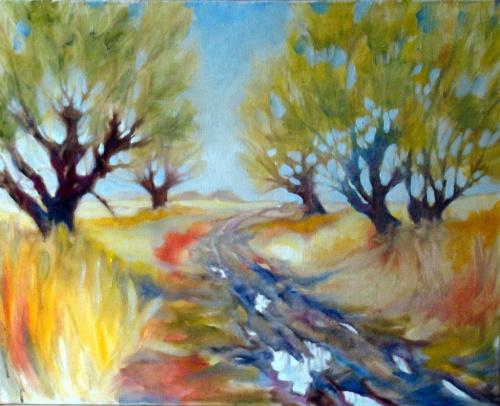 wiosenne wierzby olej 50-60 #malarstwo #pejzaż #obrazy
