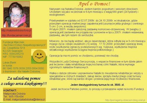 http://pomagamy.dbv.pl/ #Apel #ChoreDzieci #NiewydolnośćOddechowa #NiedrożnośćJelit #RetinopatiaWcześniacza #KrwawienieDoOUNIIStopnia #darowizna #Fiedziuszko #fundacja #KRZYŻWielkopolski #KRZYŻWLKP #NataliaDobska #NatalkaDobska #PomocDzieciom