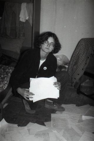 M.Krajewska, w drukarni konspiracyjnej KPN w Lublinie przy ul. Kochanowskiego