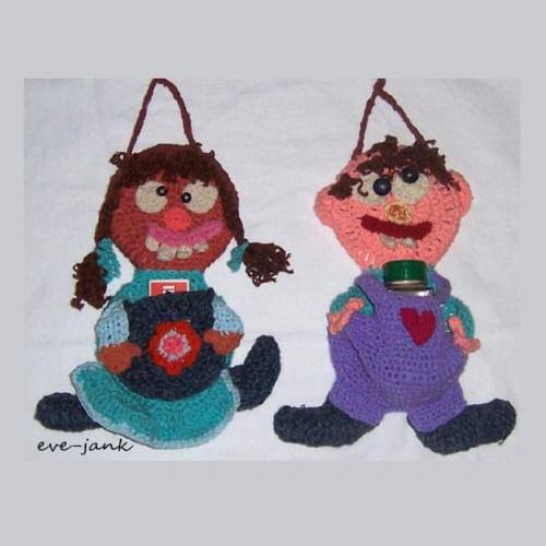 Stefanka i Stefanek .Ozdoby kuchenne wykonane na szydełku.Wysokość każdej 30 cm.