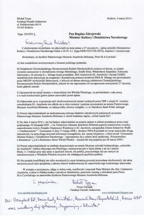 drugi wniosek o odwołanie dyrektora muzeum auschwitz