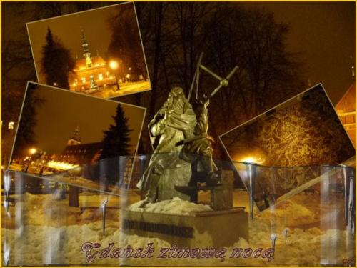 Wieczorem w Gdańsku, pomnik Jana Hevelusza, Wielki Młyn, Ratusz Staromiejski, Plan nieba #Gdańsk #zabytki #wieczór #zima #śnieg #światła