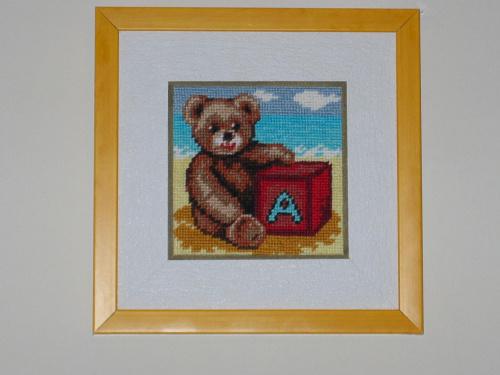 """Obrazek do dzieciecego pokoju-""""Mis na plazy"""" #hafty #miniayurki #pokoj #dziecko #zabawki #obrazki"""